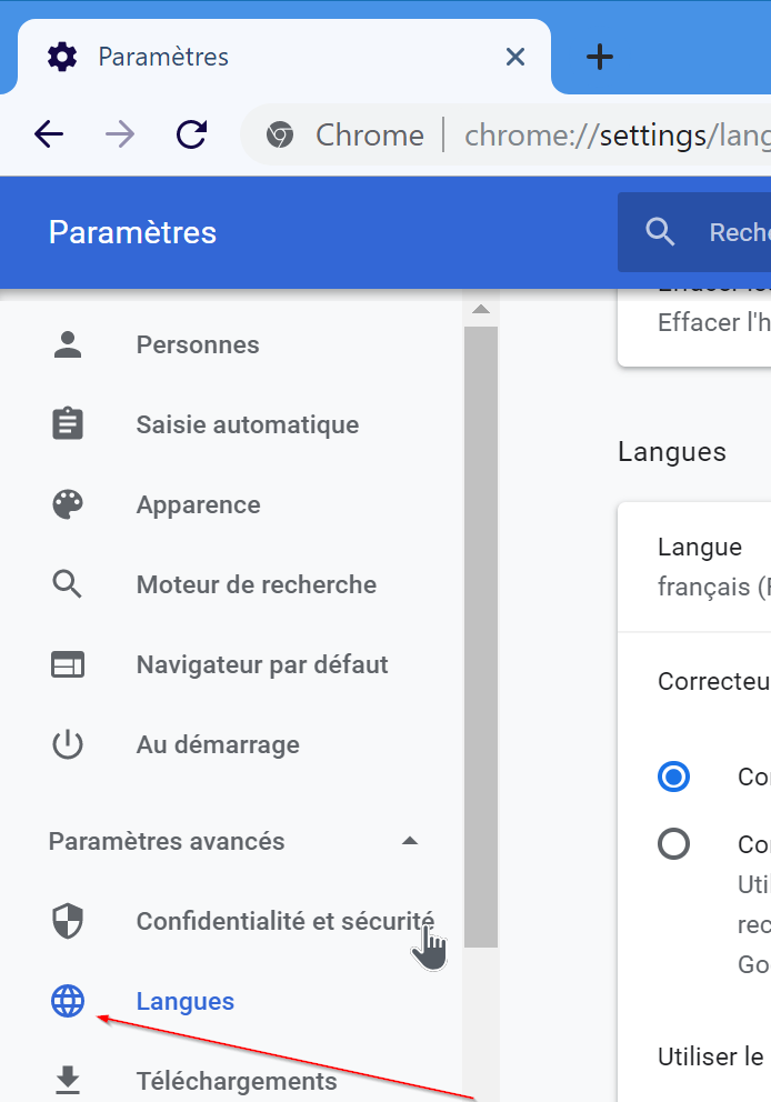 changer la langue de google chrome en anglais pic3