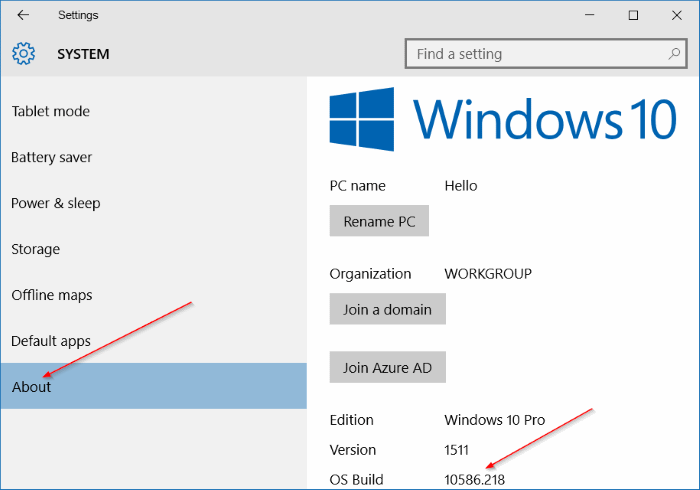 vérifier le numéro de build de windows 10 step5
