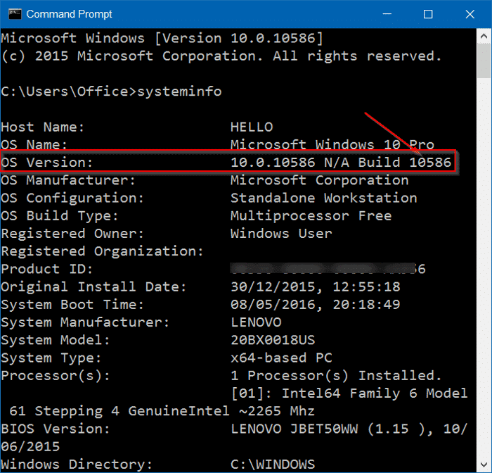 vérifier le numéro de build de windows 10 step7