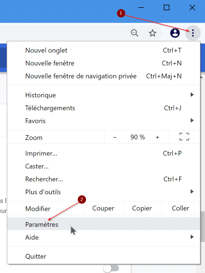 changer la langue de google chrome en anglais pic1
